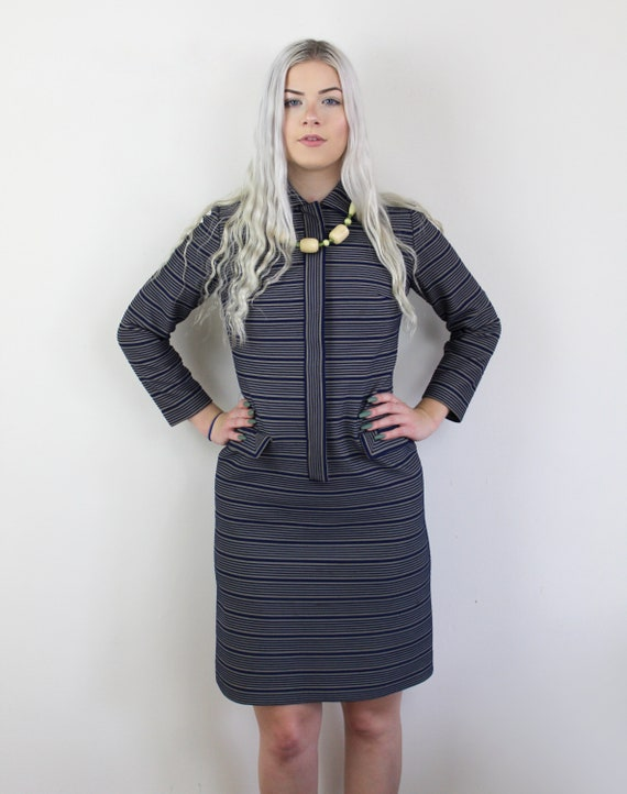 60s Blue and yellow striped Jackie O Mini Dress, … - image 5