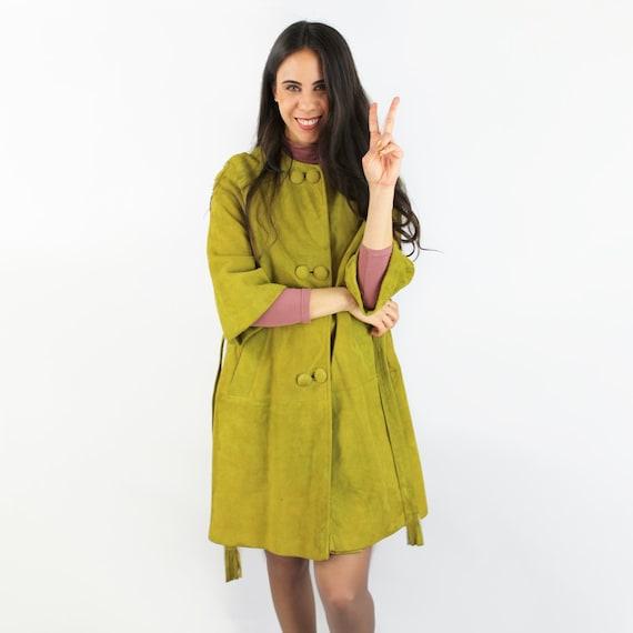 60s calfskin suede peacoat / 60s suede coat / oliv
