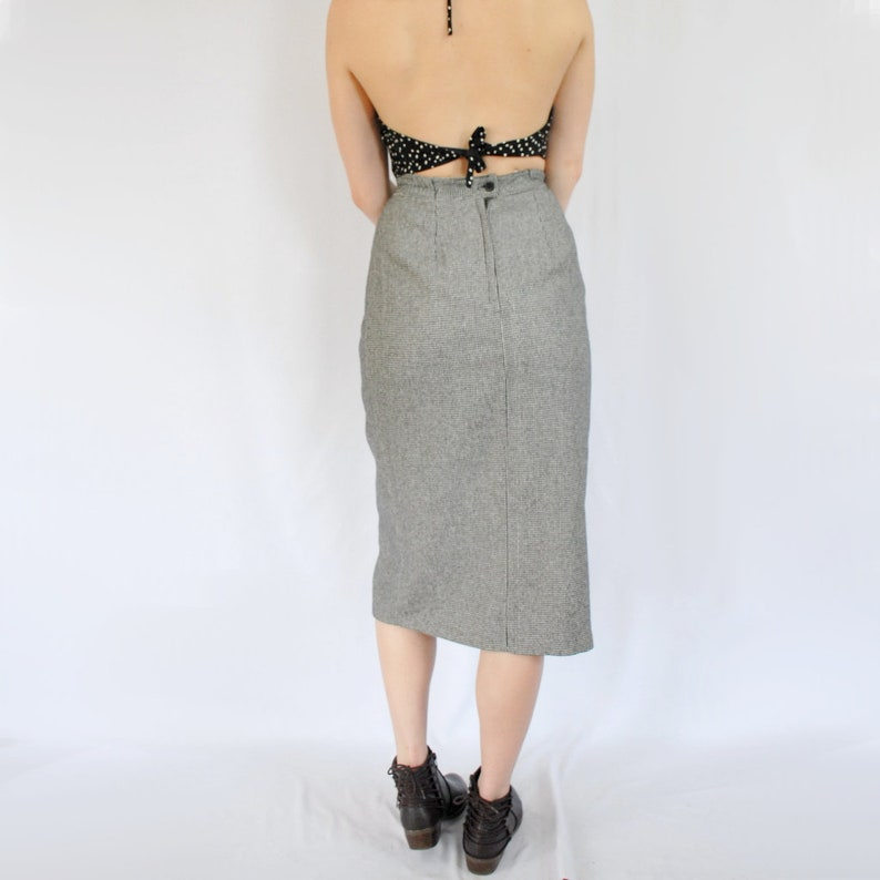 Midi Pencil Skirt Career Skirt Gray Wool 27 inch waist Light Academia Wrap Skirt 90s classic wool blend houndstooth midi pencil skirt