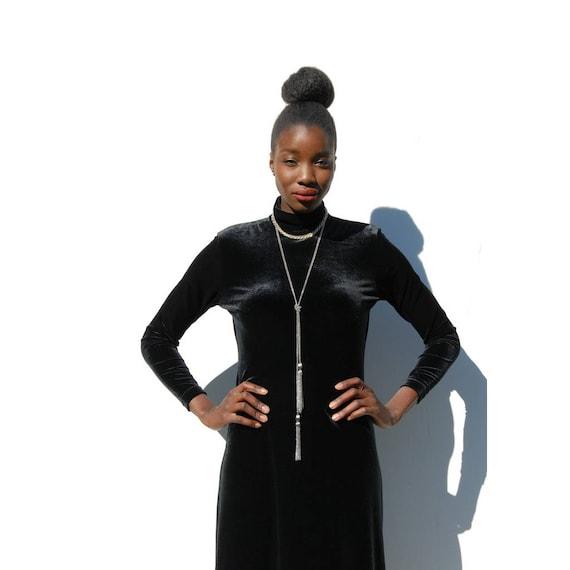 90s Vintage black velvet high neck maxi dress, GO… - image 1