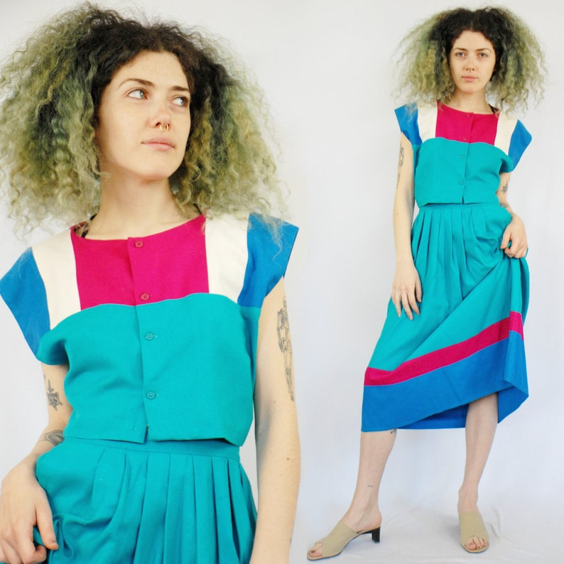 62603127a 90s raw silk color block crop top and midi skirt set / | Etsy