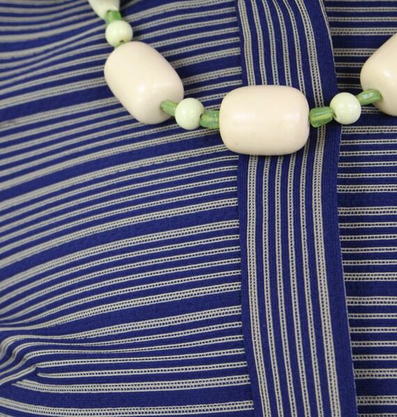 60s Blue and yellow striped Jackie O Mini Dress, … - image 8