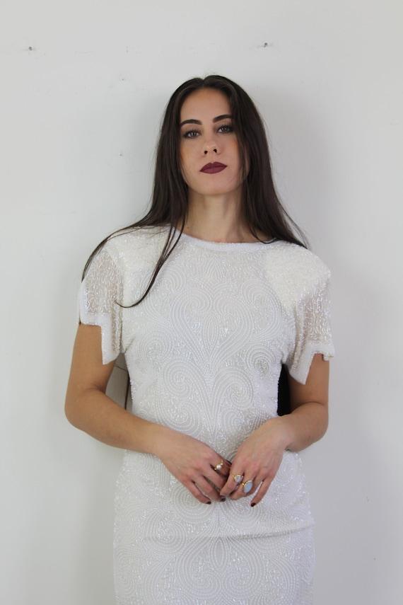 90s heavy beaded silk wedding dress, 20s inspired… - image 3