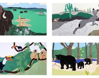 Rainforest, Prairie, Forest and Desert Cards