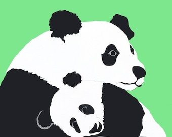 Panda mother and baby Giclee print