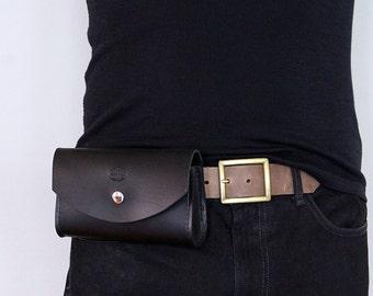 Mens Leather Belt Bag, Hip Pouch, Custom Leather Utility Bag, Hip Pack