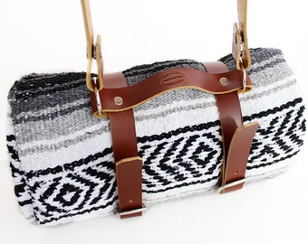 Leather Blanket Roll with Strap / Travel Blanket/ Beach Blanket / Striped Blanket / Serape Blanket /