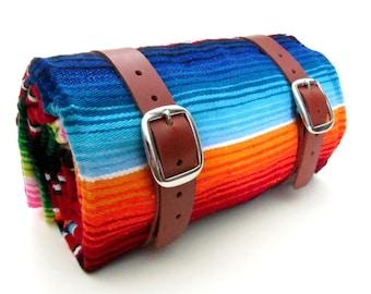 Leather Blanket Roll / Camping Gear / Hiking Gear / Serape Blanket / Colorful Striped Blanket Travel