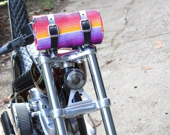 Leather Blanket Roll / Motorcycle Accessories / Hiking Gear / Serape Blanket / Picnic Blanket / Mexican Blanket / Riding Gear / Camping Gear