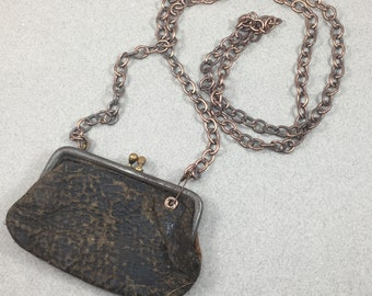 Boho Antique Leather Change Purse With Shoulder Chain