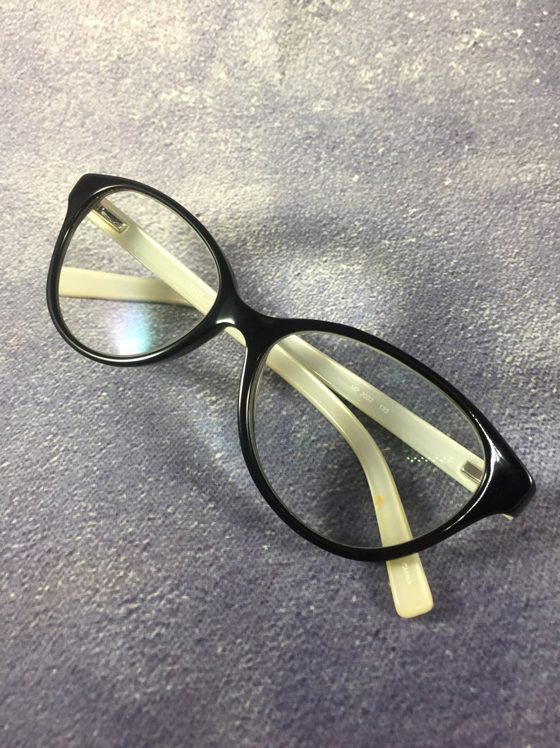 Woman's Prescription Black Cat Eye Glasses with Animal Print Arms/ Pearlized White Interior - 51mm/15mm/135mm/