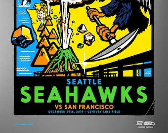 Seattle Seahawks vs San Francisco 2019 Game Day Poster Ltd. Edition Silver Variant by Shawn Wolfe