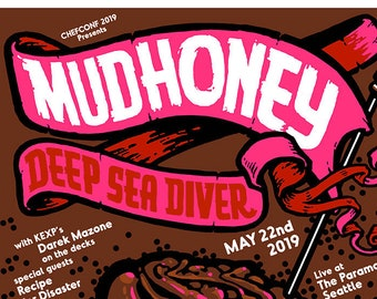 Mudhoney with Deep Sea Diver poster by Shawn Wolfe