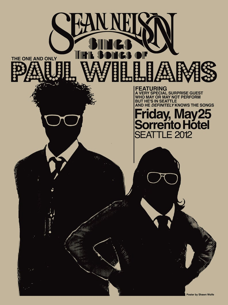 Sean Nelson Sings The Songs of Paul Williams  poster by Shawn image 0