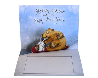 3D Pop Up Card - Forest Friends Go Sledding