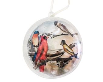 Plastic Ball Cut Paper Scene Christmas Ornament - Winter Birds