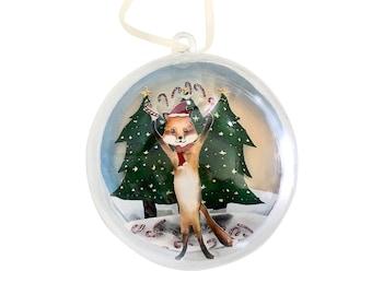 Plastic Ball Cut Paper Scene Christmas Ornament - Fox Candy Cane Juggle