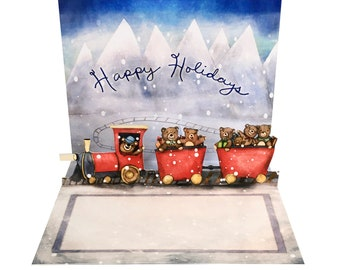 3D Pop Up Card - Teddy Bear Train Happy Holiday