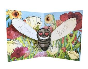 3D Pop Up Card - I Love You Bug