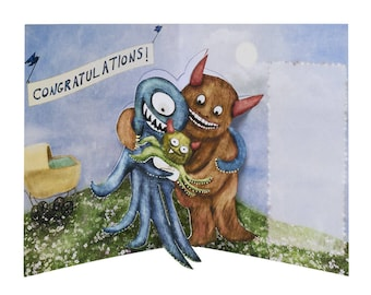 3D Pop Up Card - Monster Baby - New Baby, Congratulations, newborn, first Mothers day