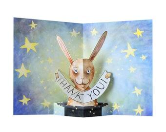 3D Pop Up Card - Thank You Magic Bunny