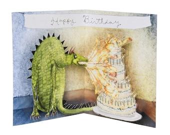 3D Pop Up Card - Happy Birthday Dragon