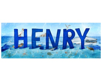 Personalized Child Name Sign - Ocean Theme