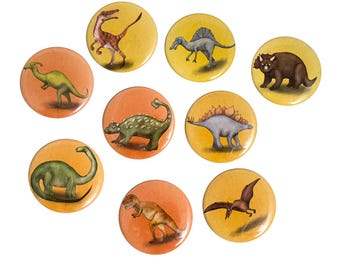 Illustrated Dinosaur Pinback Button or Magnet