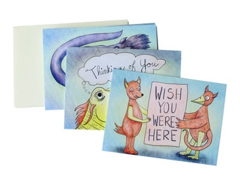 Miss You Monsters Card Set - Six blank inside greeting cards