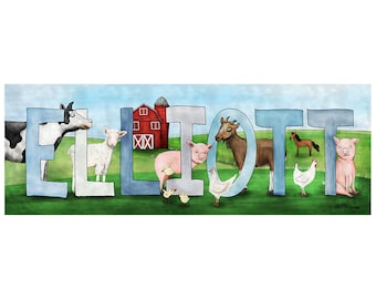 Personalized Child Name Sign - Farm Animal Theme