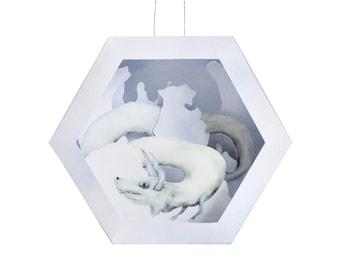 Snow Dragon Geometric Paper Scene Christmas Ornament