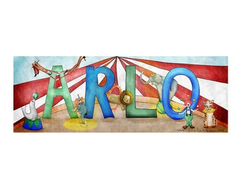 Personalized Child Name Sign - Circus Theme