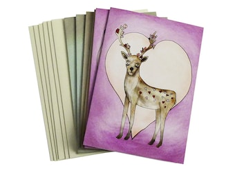 Forest Animal Valentines Six Card Stationary Set