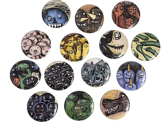 Illustrated Monster Pinback Button or Magnet