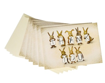 25 Cards - Bunny Bunch Thank You Card Set