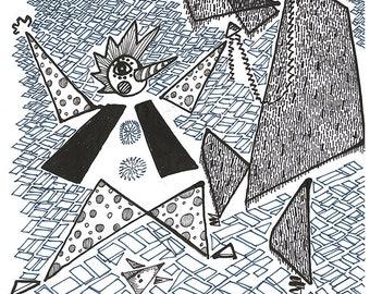 8.5x11 in Original Drawing, Iraqi Art, Ethnic Arab Art, Middle East Art, Folk Arab Art, Old Baghdad, Street Performer, Street Entertainer