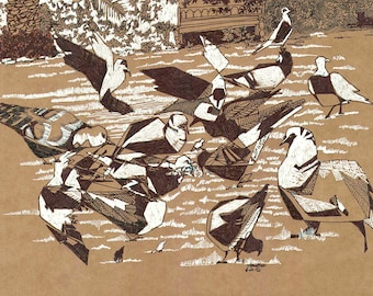 6x12 in Original Drawing, Pigeons, Birds, House Garden, House Pigeons, Iraqi Garden, Family Home, Family House, Baghdad, Animals