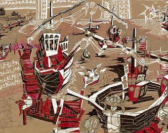 14x21 inch Original Iraqi Drawing, Iraq, Iraqi Culture, Arabian Ship, Traditional Iraqi Housing, Fishing Harbor, Fisherman