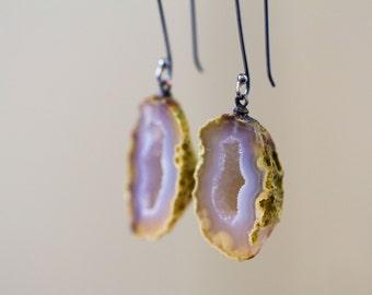 Geode Drusy Earrings, White Drusy Sterling Silver Drop Earrings, Statement Earrings - Origins