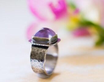 Amethyst Sterling Silver Ring, AAA Gem Grade Amethyst, Pink Amethyst - Size 8.25, Size 8.5 - Sanctuary of Light