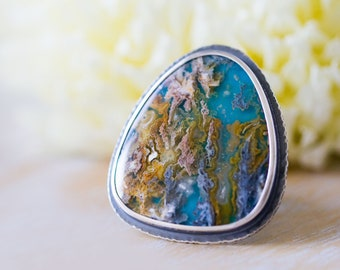 Turquoise Ring, Regency Rose Plume Agate Ring in Sterling Silver, Statement Ring - Size 7.5 - Self and Soul
