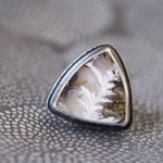 RESERVED Graveyard Point Plume Agate Ring in Sterling Silver, Cocktail Ring - Size 7.5 - Self and Soul