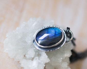 Labradorite Necklace, Labradorite Pendant, Sterling Silver Necklace - Twilight