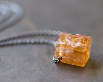 Pink Imperial Topaz Necklace, Raw Gemstone, Topaz crystal, Topaz Specimen, Raw Topaz - Collector Stone - Sanctuary of Light