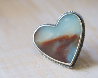 Amazonite Ring, Peruvian Amazonite Sterling Silver Statement Ring - Heart Ring - Forests of the Heart - Size 7.75