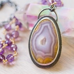 RESERVED Coyamito Agate and Pink Amethyst Sterling Silver Statement Necklace - Muse and Reverie