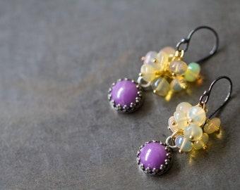 Opal Earrings, Phosphosiderite Earrings, Fire Opal Cluster Earrings, AAA Gem Grade Ethiopian Opal Earrings, Bohemian Wedding - Raindrops