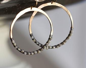 Raw Diamond Earrings, Rough Diamond Earrings, Diamond Hoops, Natural Diamond, Bohemian Wedding - Diamond in the Rough Hoops LIMITED EDITION