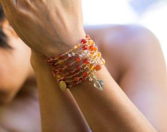 Carnelian Necklace, Prasiolite Green Amethyst Necklace, long beaded necklace, Carnelian Bracelet, Fall Wedding - LIMITED EDITION