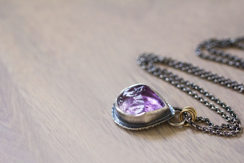 Raw Amethyst Crystal Necklace Amethyst Necklace 14K Gold  image 0